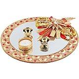 FunRobbers Diwali Diya Lights Candle Thali, Roli Chawal Platter/ Holder, Kumkum Platter Home Decoration (Handcrafted...