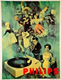 Vintage PHILIPS RECORD PLAYERS VINYL RECORDS 250gsm ART CARD Gloss A3 Reproduction Poster