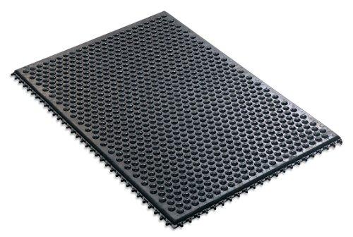 "Desco 40930 Statfree i Black Conductive Rubber Interlocking Floor Mat, 36"" Length x 24"" Width x 0.50"" Thickness"