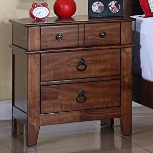 Elements Tucson Youth 4 Drawer Nightstand - Light Brown Lacquer by Elements International Group