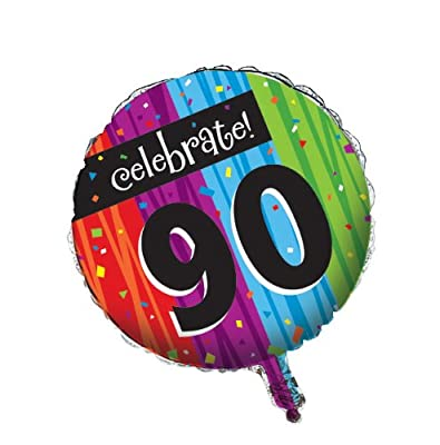 Creative Converting Party Decoration Round Metallic Balloon, Milestone Celebrations 90th