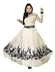 Sheryl Trendz White Color Semi Stiched Gown