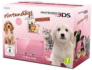 Console Nintendo 3DS - rose corail avec Nintendogs + cats Golden Retriever & ses nouveaux amis - édition limitée
