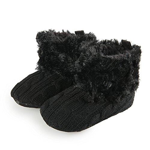 Arshiner Toddler Girls Fleece Woollen Fur Knitted Snow Boot (L3)(9-18mths), Black(FBA))