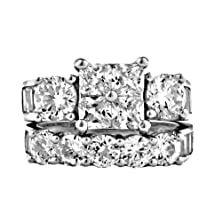 buy Vanessa: 8.15Ct Russian Ice On Fire Cz 2 Pc Bridal Wedding Ring Set 925 Silver, 3109A Sz 10.0