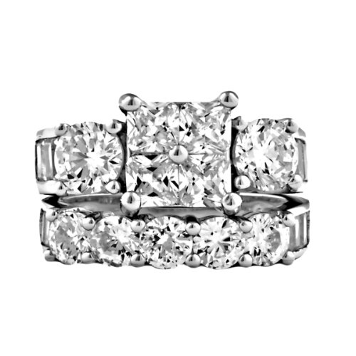 Vanessa: Womens 8.15Ct Russian Ice On Fire Cz 2 Pc Bridal Wedding Ring Set, 3109A Sz 7.0, 925 Silver