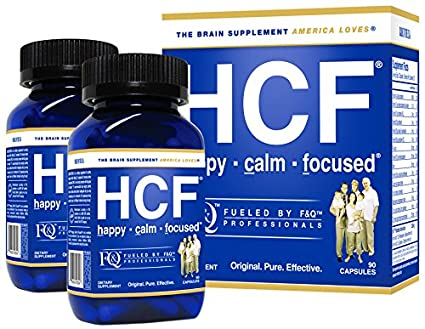 HCF Happy Calm Focused Brain Supplement x 2 Bottles - Amino Acids, Vitamins and Minerals for Memory, Attention, Focus, Mood, Concentration, Sleep, Weight Loss, Energy, Confidence and Hormone Balance