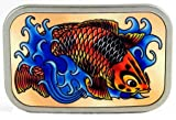Buckle with colored Koi carp, lucky charms, tattoo