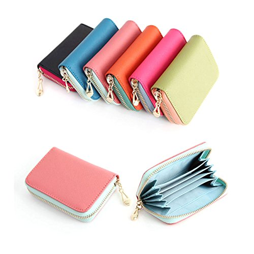 03. Leather Accordion Zipper Name Card Wallet Useful Credit Card Wallets Small Purse