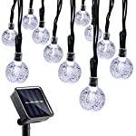 Qedertek Solar Christmas Lights, 20ft 30 LED Crystal Ball Globe Lights for Outdoor, Home, Lawn, Garden, Wedding, Patio, Party and Holiday Decorations (White)