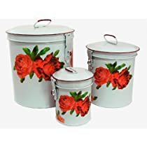 White Canister Set w/ French Chic Red Roses, Vintage Shabby Chic Canister Set ~E6 Kitchen Storage Canisters ~ Decorative Containers ~ Shabby Chic White Enamel Finish