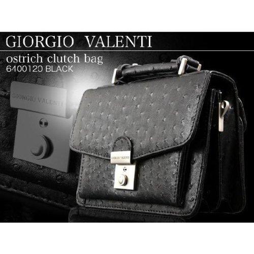 GIORGIO VALENTI ジョルジオ・バレンチ オーストリッチ型押し2Wayセカンドバッグ 6400120 ブラック