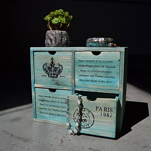 French Country Design Rustic Turquoise 4 Drawer Wooden Storage Cabinet / Jewelry Organizer Chest - MyGift