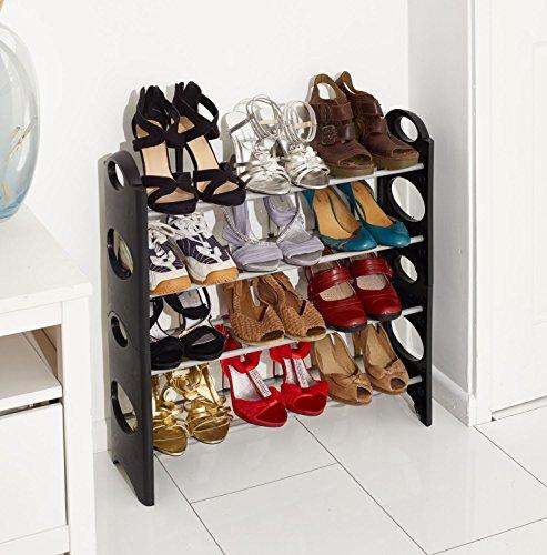 vinsani-4-tier-free-standing-shoe-rack-stand-storage-organiser-shelf-home-furniture-black
