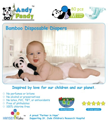 Andy Pandy Baby Diapers – Medium – 80 ct
