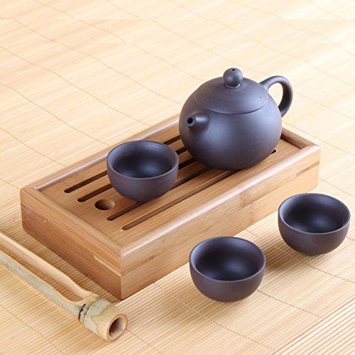 Yixing-Tee-Set-aus-Zisha-Ton-Teekanne-mit-drei-Teeschalen-inkl-Chapan-und-Teezange