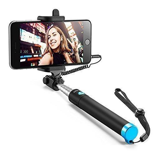 Anker Selfie Stick Extensible - Perche à Selfie Filaire Sans Batterie pour smartphones iPhone, Android et Autres [Noir]