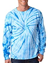 tie dye Adult Tie-Dyed Long-Sleeve Cotton Tee - Baby Blue Spider - L