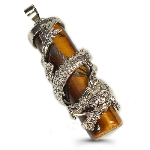 Tiger Eye Pendant Decorated with Silver Plate Copper Dragon-Free 20″ Black Silk Cord Necklace (Lobster Clasp Lock)