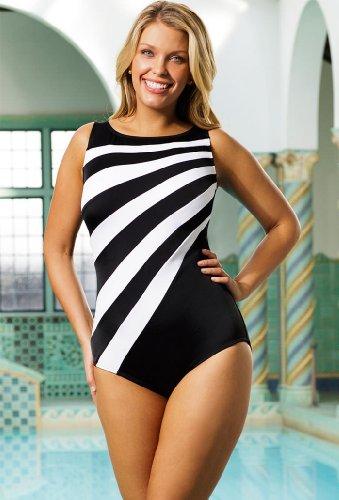 fa2587c5b28 B00EIQWUTQ Longitude Plus Size Colorblock High Neck Swimsuit Women s  Swimwear – Black White – Size