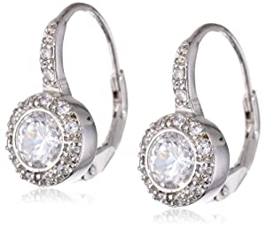 .925 Sterling Silver Lever Back Round Shaped Cubic-Zirconia Earrings