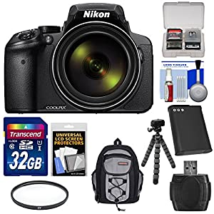 Nikon Coolpix P900 Wi-Fi 83x Zoom Digital Camera with 32GB Card + Battery + Filter + Backpack + Tripod Kit (Certified Refurbished)