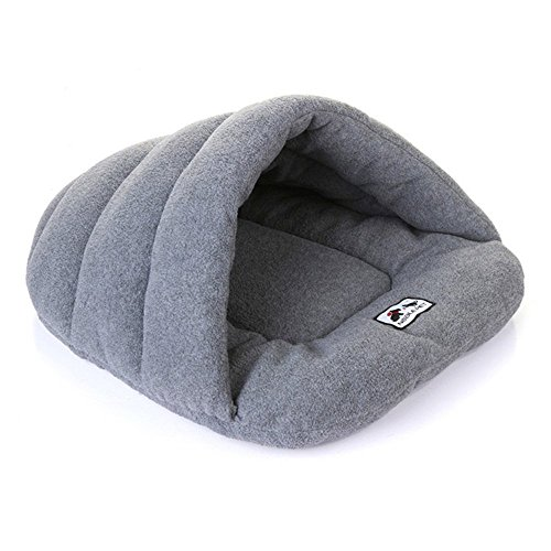 Pet Bed, Homure® Luxury Pet Cave Half Covered Soft Cozy Sleeping Bag Mat for Dogs Cat Rabbit Warm House Bed Extra Small, Carbon Grey