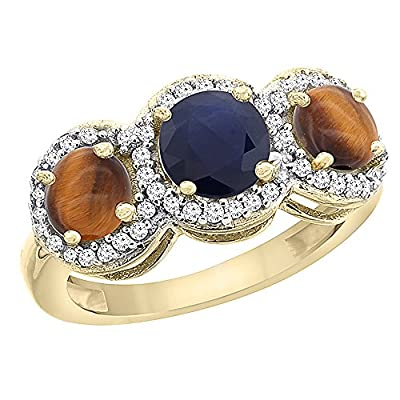 10K Yellow Gold Natural High Quality Blue Sapphire & Tiger Eye Sides Round 3-stone Ring Diamond Accents, sizes 5 - 10