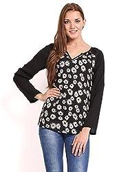 Femenino Black Print Coloured Printed Top