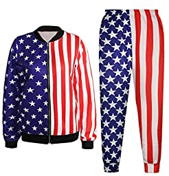 Patriotic American Flag Stripes And Stars Sweater Jacket Sweatshirt Sweatsuits