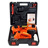 MarchInn 12V DC 5.0T(11000lb) Electric Hydraulic Floor Jack and Tire Inflator Pump and LED Flashlight 3 in 1 Set with Electric Impact Wrench Car Repair Tool Kit