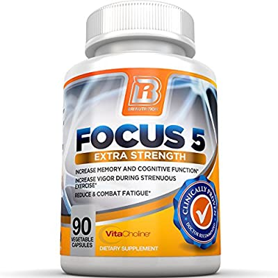 BRI Nutrition Focus5 - Patented & Proven Results - 100% Natural Focus Formula - Pure and Potent Brain Function Booster Supplement - 90 Veggie Capsules - With Vitamins, Minerals, Herbs and Nootropics