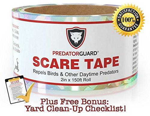 BLACK FRIDAY & CYBER MONDAY DEAL OFFER + BEST Bird Repellent Scare Tape + FREE BONUS - Repels Birds & Daytime Predators - Huge 150 Ft. Roll (Tomato Netting compare prices)