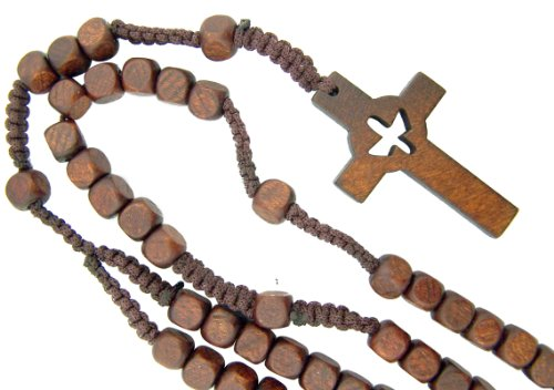Catholic Boy Girl Teens Confirmation Gift Cut Out Holy Spirit Dove Cross 8MM Wood Bead 18