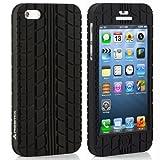 【RGBMIX】タイヤ柄 iPhone5 iPhone5S シリコン ケース カバー F1 Tire Tread LT05B (黒) 前面保護 ネット限定商品