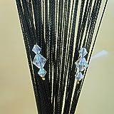 (タンパン)Tangpan 100cmx200cm 装飾的な文字列輝くダイヤモンド ビーズ フリンジ ドアカーテン 部屋仕切りドア パネル ブラック