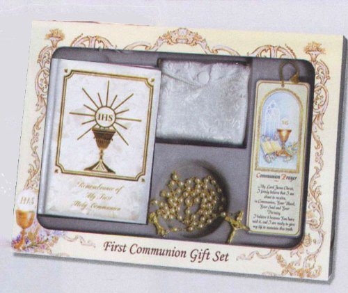 Boxed First Communion Gift Set - Genuine Mother of Pearl Rosary With Case - Scapular - FC Pin - My Friend Jesus Missal Edition with Padded Cover and Gilded Pages - Wallet-Size Prayer Card - Bookmark with Tassel