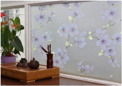 Hogar Adhesive Cling Vinyl Decorative Privacy Frosted Floral Glass Window Film Purple 3 FT x 9 FT