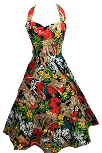 50s Vintage Hepburn Dress Halter 1950 Stile Beach Girl Stampa Pin Up Rockabilly Altalena Dresses + Lavanderia Bag + Gift / Shopper Bag BOOLAVARD (XL (48), Vestito Dalla Spiaggia)