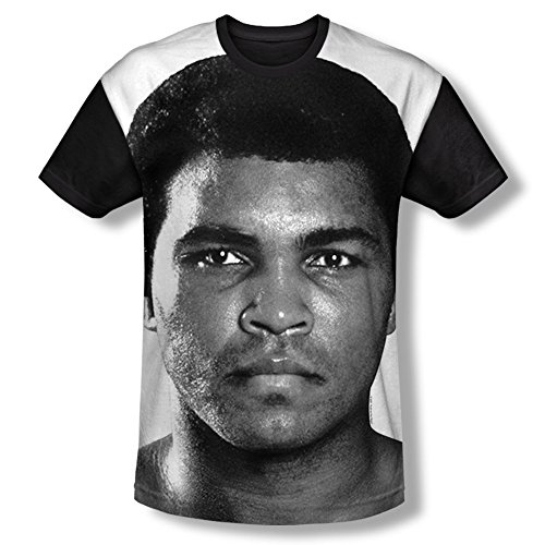 Muhammad Ali 60 The Greatest American Boxer Fight Stare Adult Black Back T-Shirt