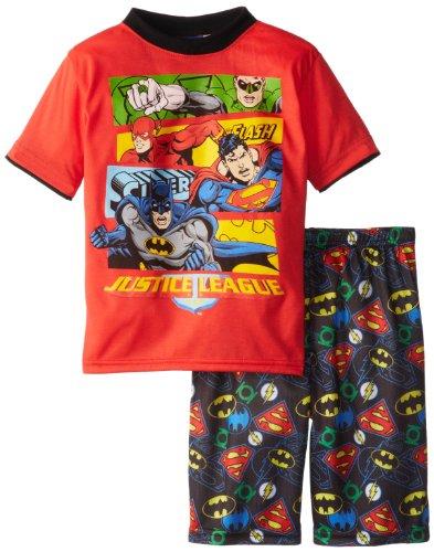 Dc Comics Little Boys' Justice League Short Set, Red, 5 front-810695