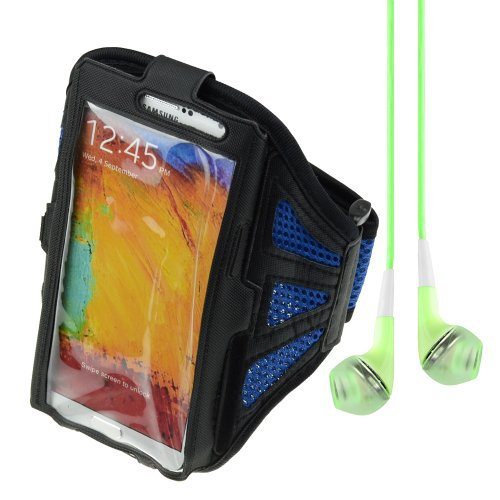 Adjustable Fabric Workout Armband For Samsung Galaxy Note 2 / Note 3 - Black / Sapphire Blue + Vangoddy Headphone With Mic,Green