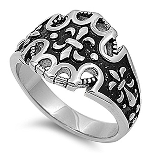 Men'S Fleur De Lis Ring Polished Stainless Steel Comfort Fit Band New Usa 17Mm Size 10 Valentines Day Gift