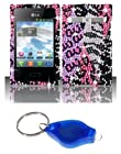 Purple Pink Leopard and Silver Zebra Diamond Bling Case + ATOM LED Keychain Light for LG Optimus Logic L35G / LG Dynamic L38C