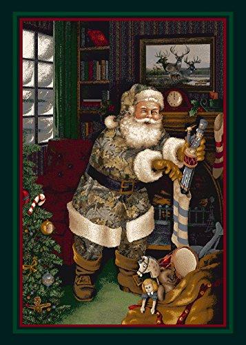 Milliken Realtree Camo Santa Christmas Novelty Rug 3'10