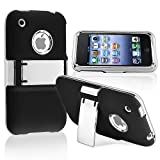 Snap-on Case compatible with Apple iPhone 3G / 3GS , Black with Chrome Stand