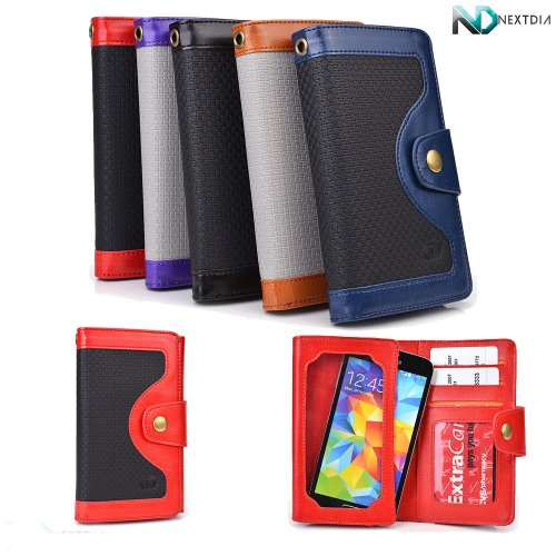 Yezz Andy A4.5 Smartphone Wallet Case Black On Garnet Red With Credit Card Holder