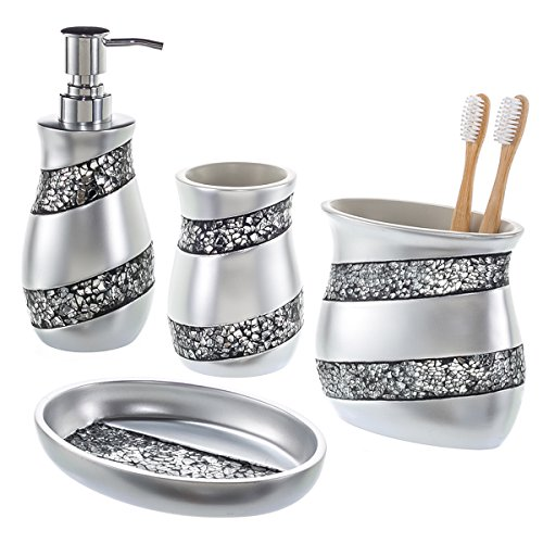 Creative Scents Bathroom Accessories 4 Piece Mosaic Glass Bathroom Set Lux