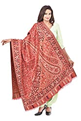 Weavers Villa - Womens Faux Pashmina Maroon Jamdani Shawls ,Stoles