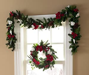 Holiday Poinsettia Christmas Floral Garland